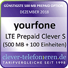 LTE Prepaid Clever S - 500 MB + 100 Einheiten