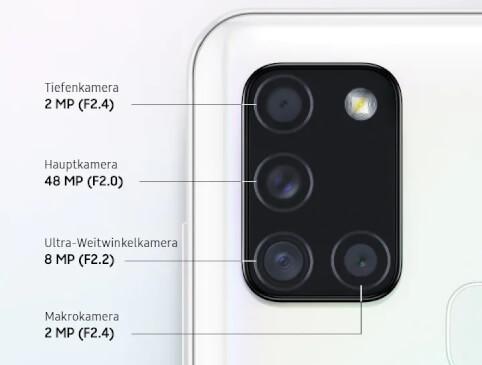 Die umfassende Kamera-Ausstattung des Galaxy A21s
