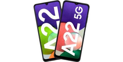 Unterschiede in Design und Display der Galaxy A22-Handys